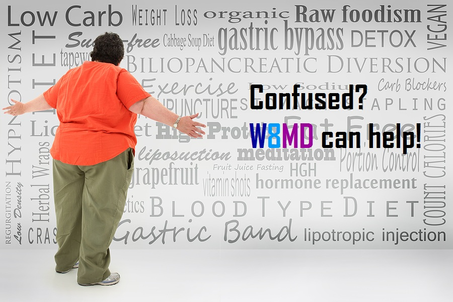 Overwhelmed Obese Woman Looking confused w8md weight loss program can help